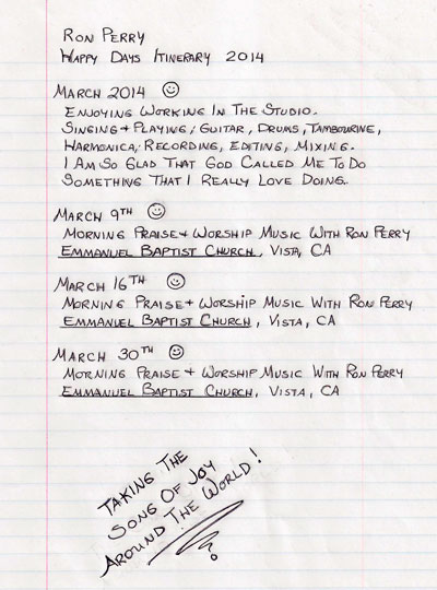 Happy Days Itinerary for March 2014